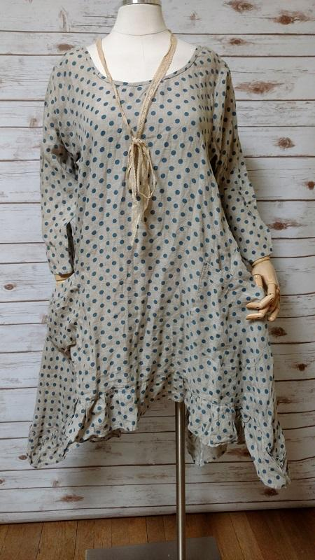 Hanna Top in Polka Dot Linen, HD-016