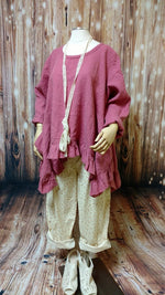 Butterfly Top Long  in Rose Linen, USA