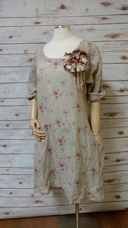Petra Dress Natural Pink Floral, HD-017 NP FLR