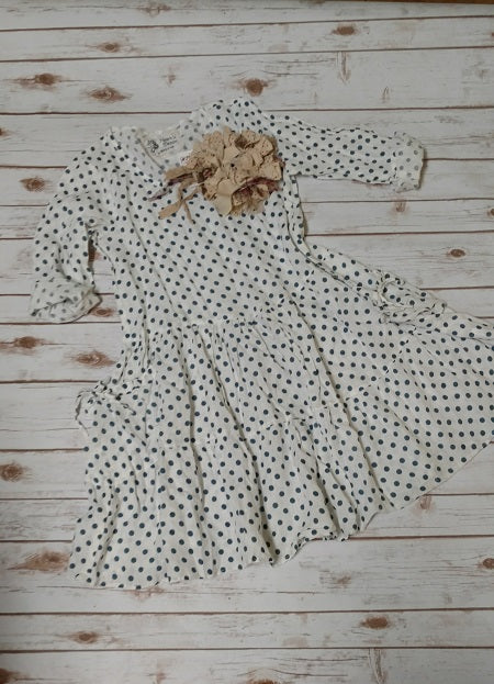 Summer Dress, Cream Teal Dot, HD-026 CBDOT