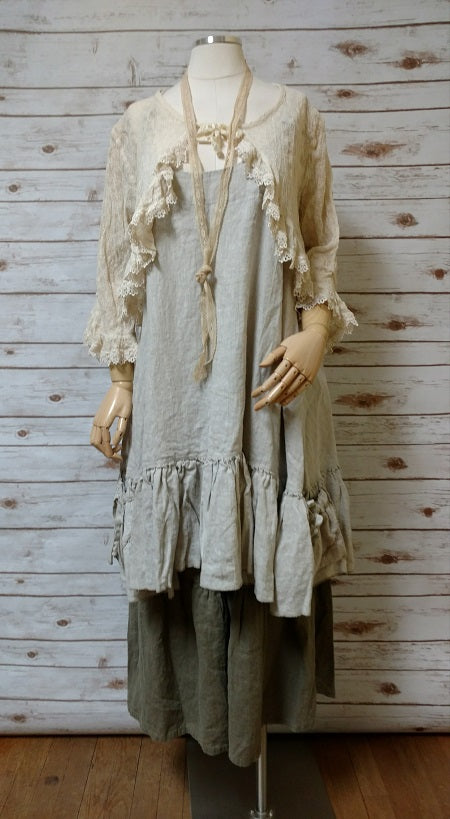 Bed Jacket Embroidered Crinkle Silk Georgette Tea Stain, USA