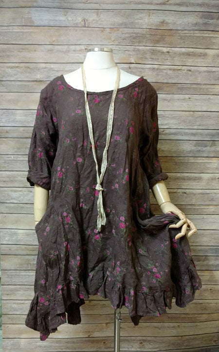 Shabby chic linen floral dress