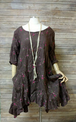 Hanna Dress Brown Floral Linen, HD-016 BF