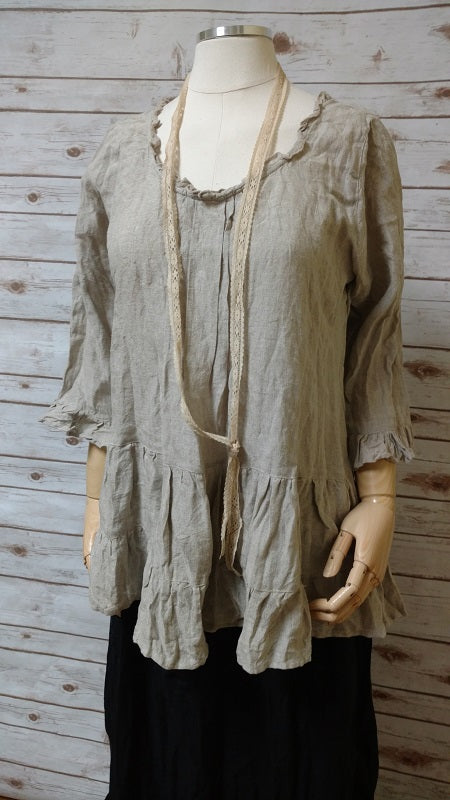 Julie Top Long Sleeve in Linen, HD-042