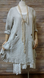 Sea Shore Top in Linen Stripe, USA