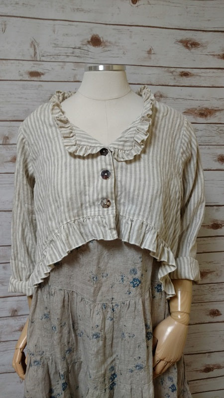 Bethany Jacket in Linen Stripe, USA