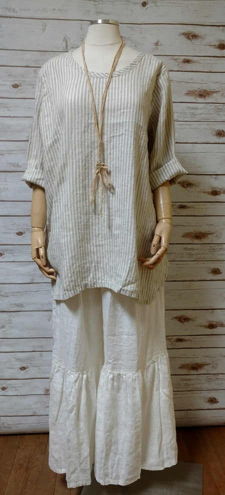 Simple Top in Linen Stripe, USA