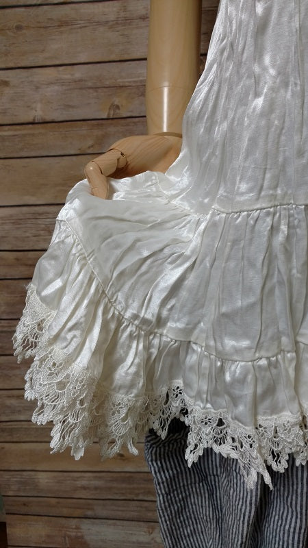 Tessa Mini Cream Satin Lace Trim, USA