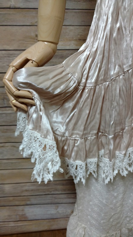 Mini Taupe Cream Satin Lace Trim, USA