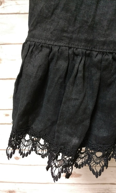 Nicole Slip Black Linen Lace Trim, USA