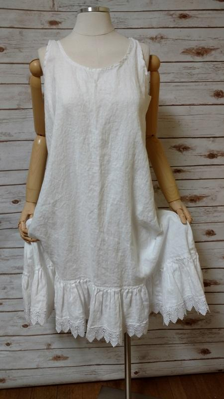 Nicole Slip in Linen Lace Trim, USA