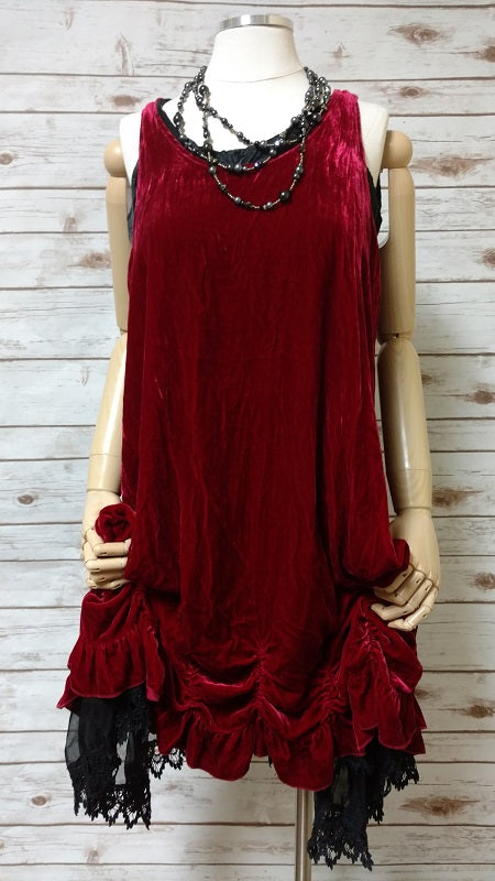 Petal Slip Dress Poppy Velvet,USA