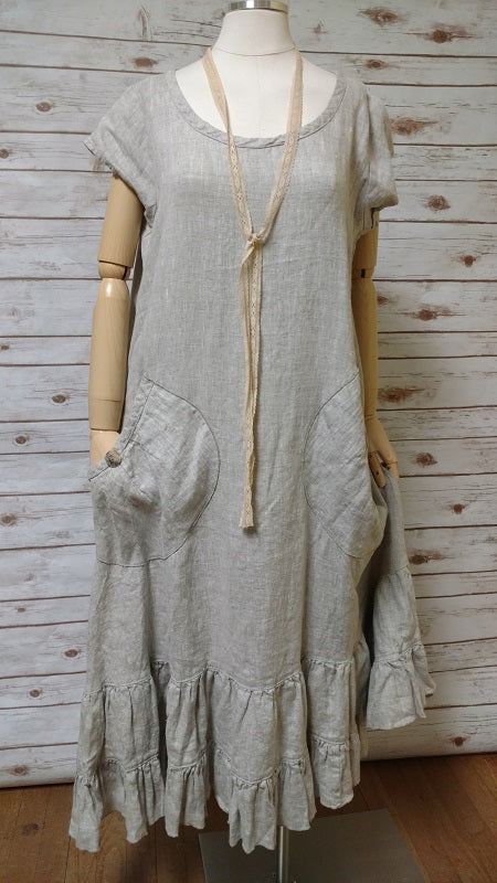 Prairie Dress Cap Sleeve in Linen, USA
