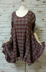 Flutter Top in Cotton Plaid, USA