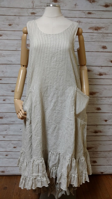 Tessa Slip Dress in Linen Stripe, USA