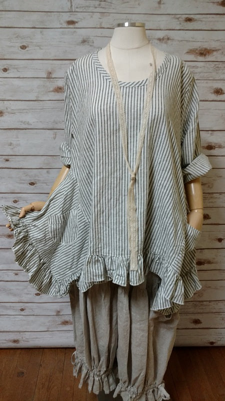 Butterfly Top in Linen Stripe, USA
