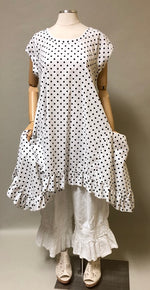 Flutter Top In Cotton Dot Cap Sleeve