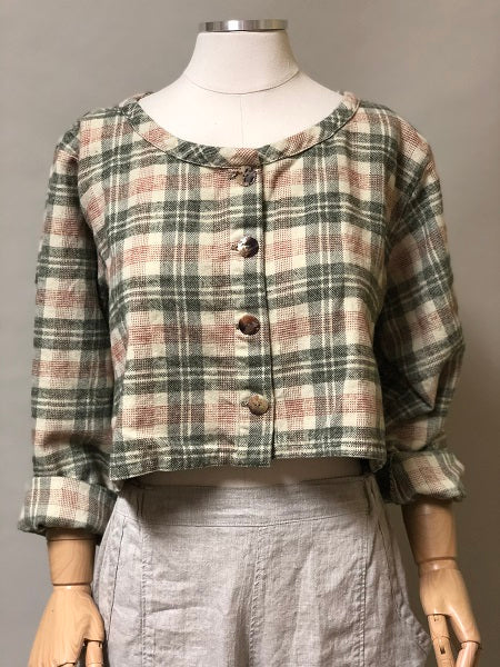 Flannel crop jacket