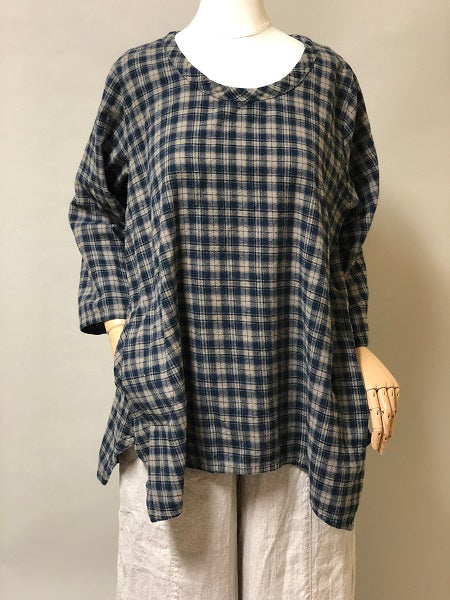 Side Pocket Simple Top in Cotton Flannel