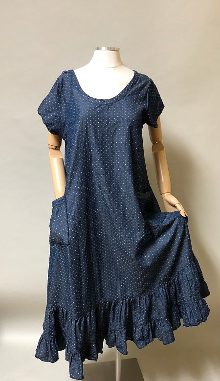 Angie Dress Chambray Dot Cotton