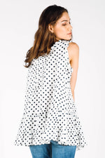 Lydia Cami in Polka Dot Linen, HD-001