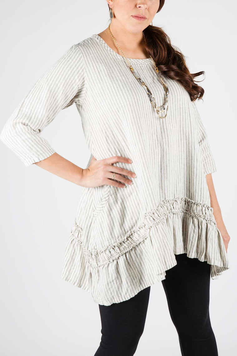 Nicole Top in Linen Stripe, USA