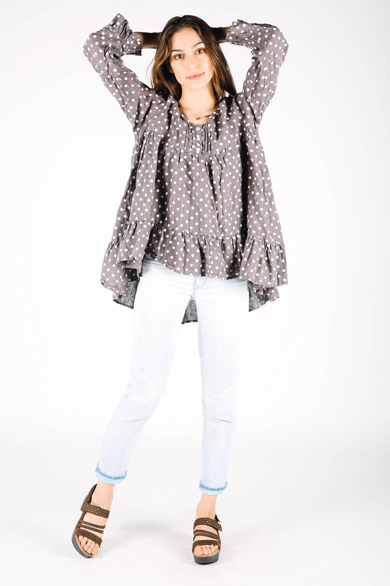 Rebecca Top in Polka Dot Linen, HD-029