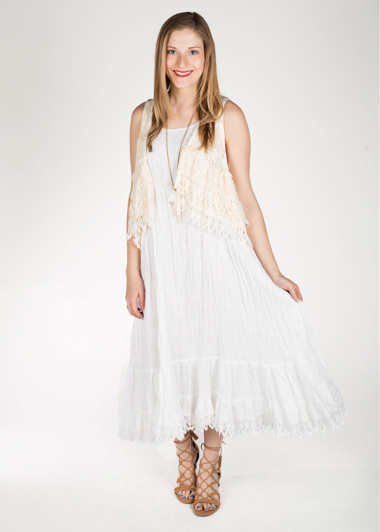 Tessa Slip in Linen Gauze Lace Trim, USA