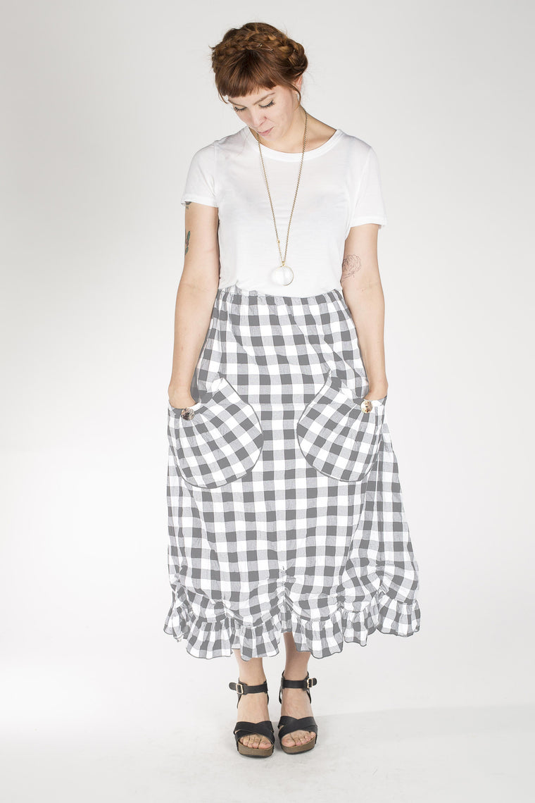 Big Pocket Petal Skirt, Big Grey Check, USA
