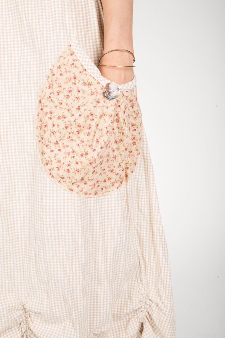 Big Pocket Petal Skirt, Floral Cotton Gingham Mix Up, USA