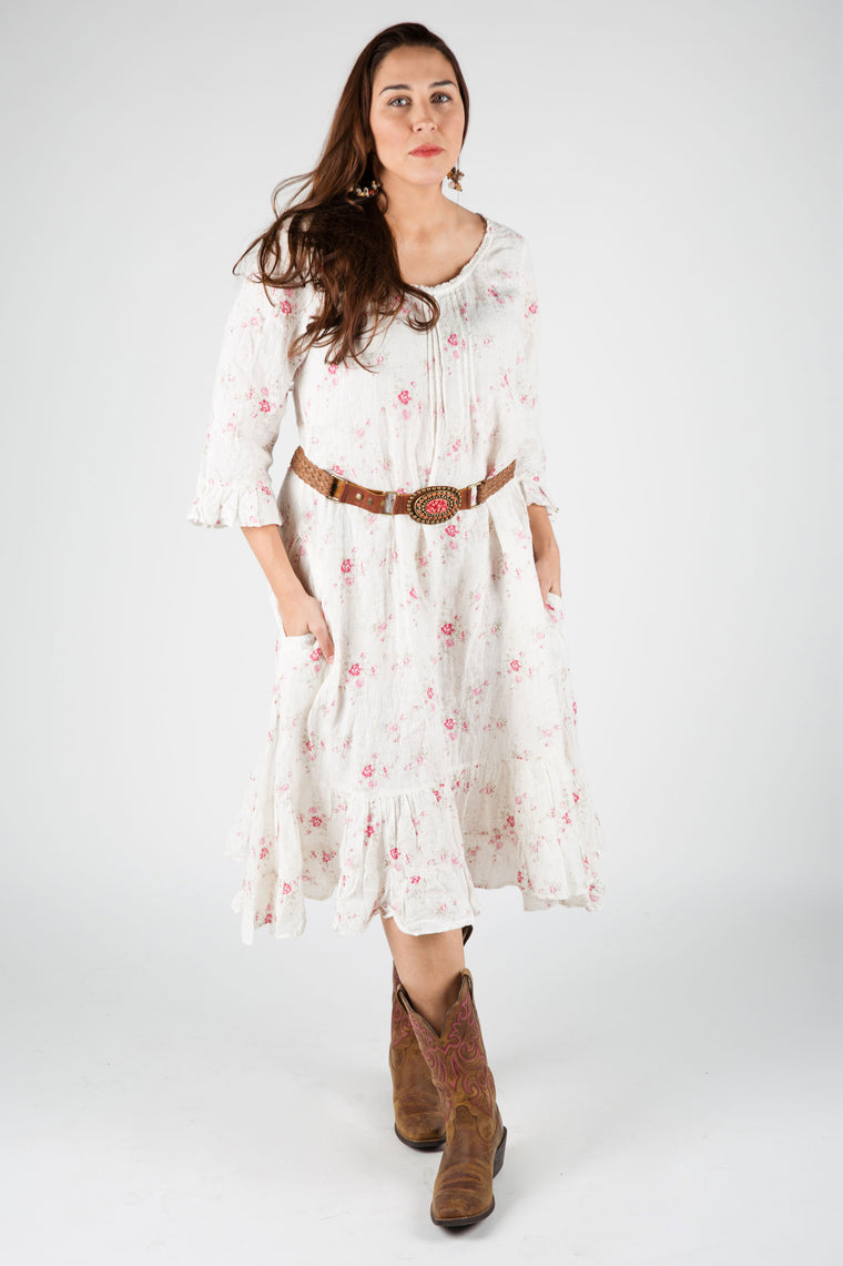 Ella Dress 3/4 Sleeve in Linen Floral, HD-008