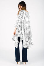 Linen polka dot dress with long sleeves