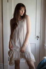 Boho full linen slip with lace