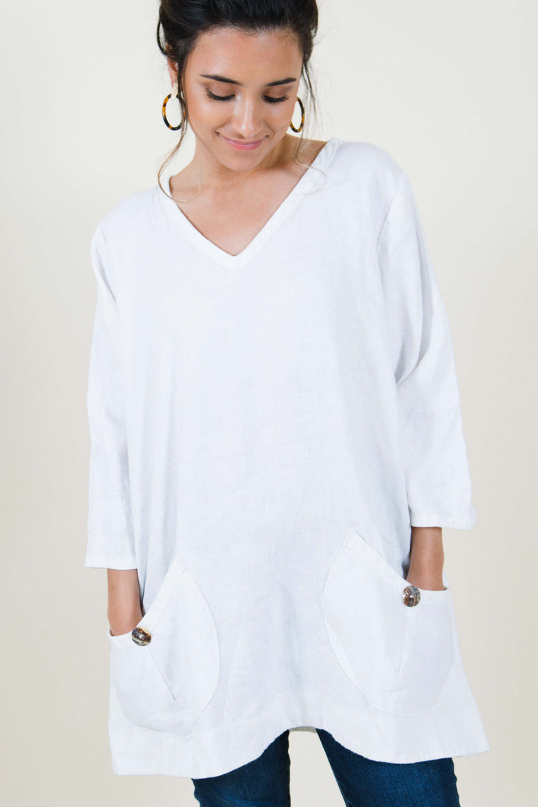 Meggin Top in Linen, USA