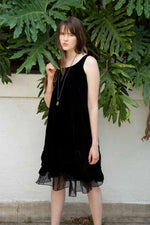Black linen scalloped dress