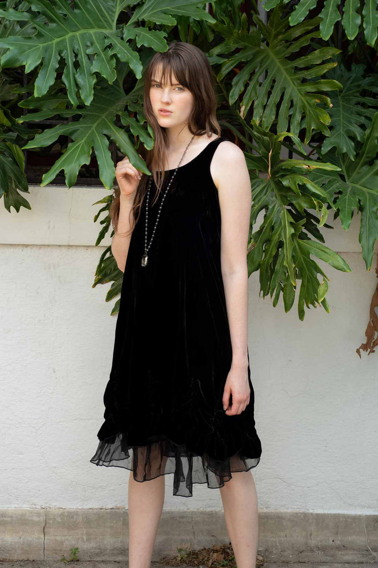 Petal Slip Dress in Velvet,USA