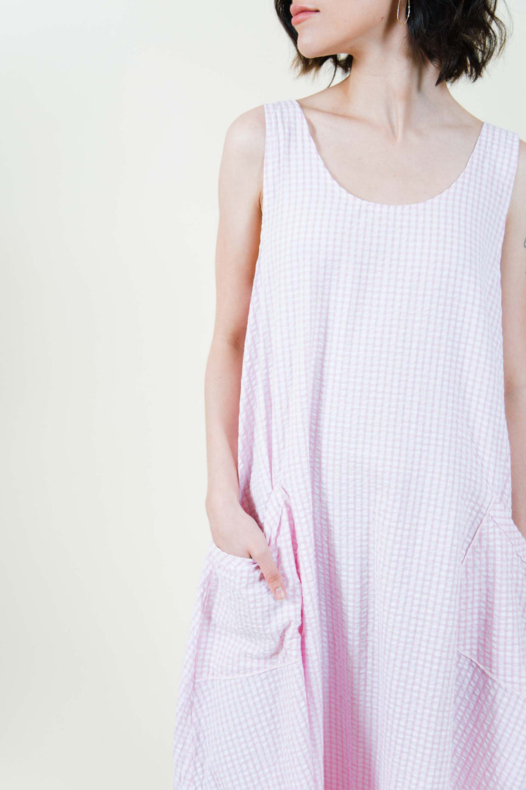 Tessa Pocket Slip Dress Seersucker Check, USA