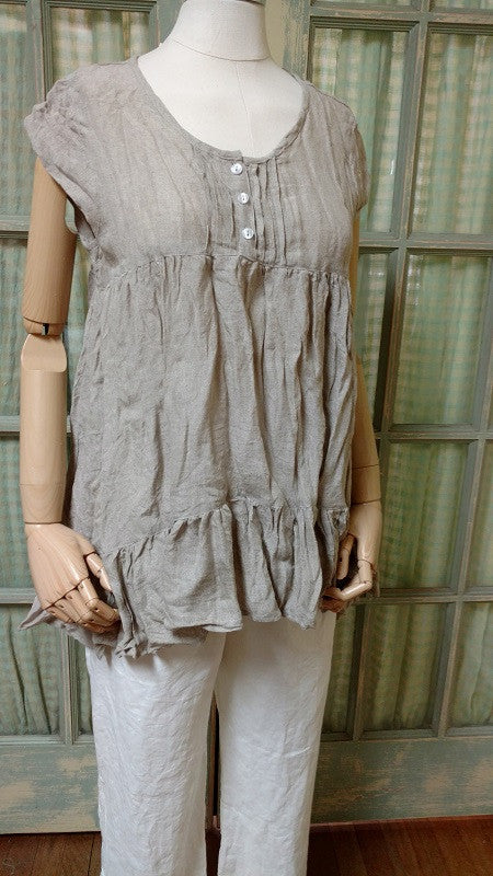 Rebecca Top Cap Sleeve in Linen, HD
