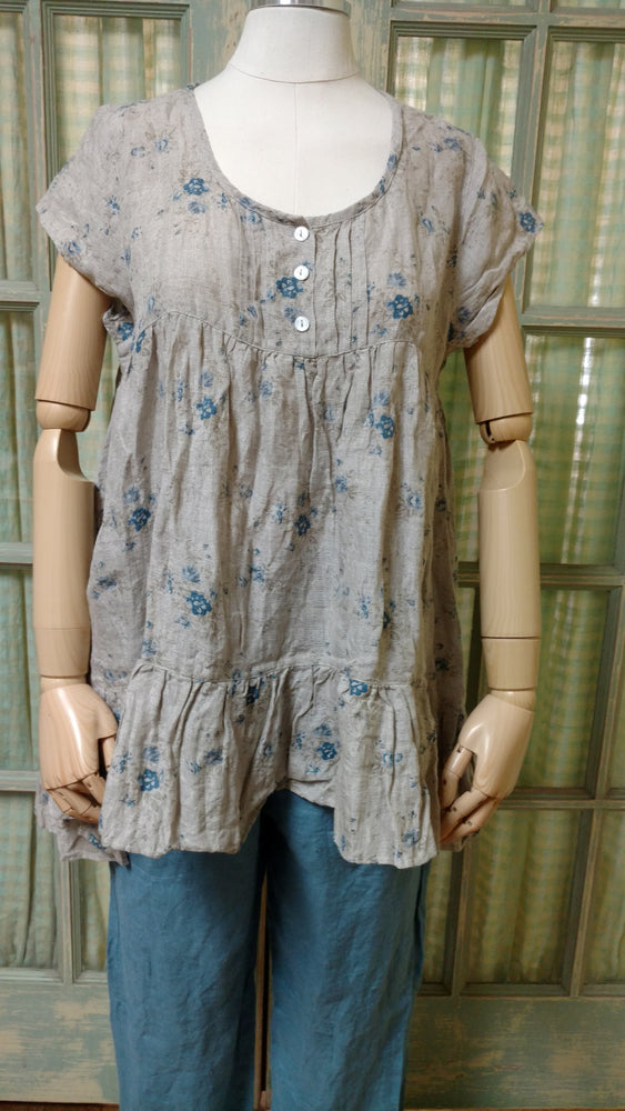 Rebecca Top Natural Blue Floral