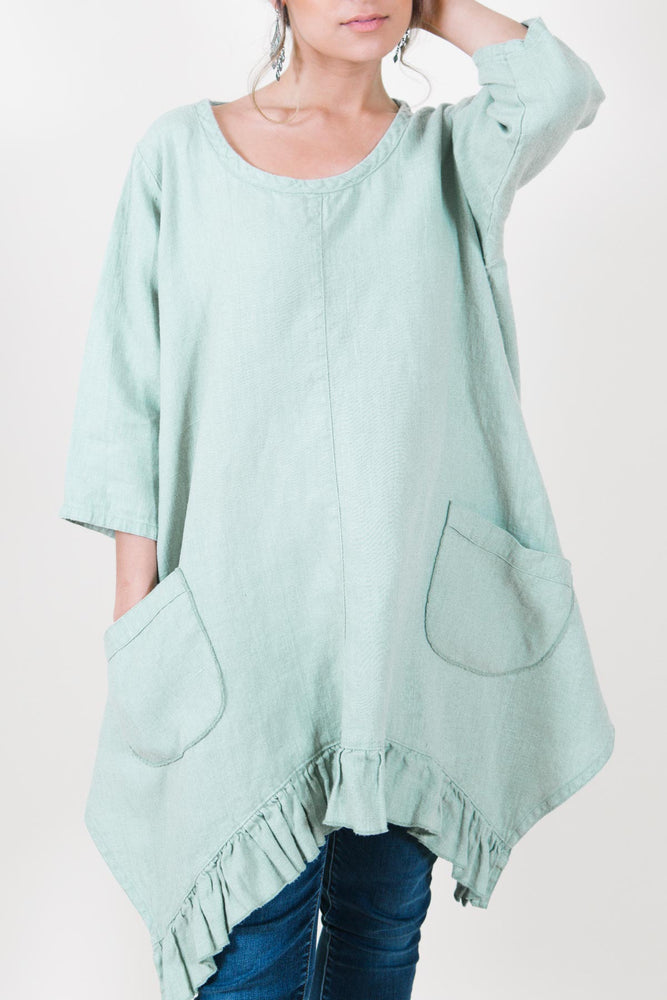 Sabrina Top in Linen, USA