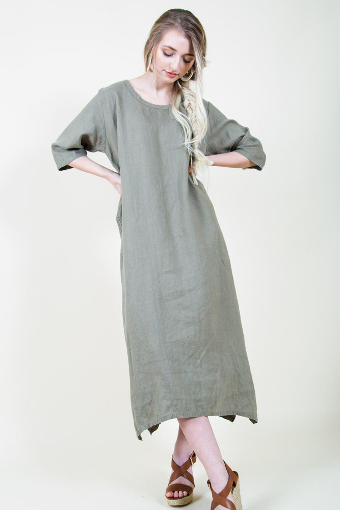 Minimal linen dress ethically made