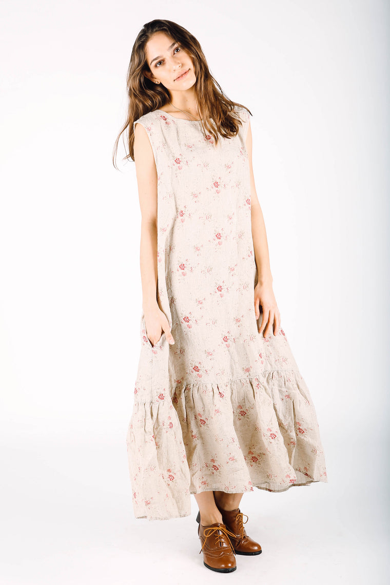 Simple Slip Dress, Natural Pink Floral Linen, HD-053 NP