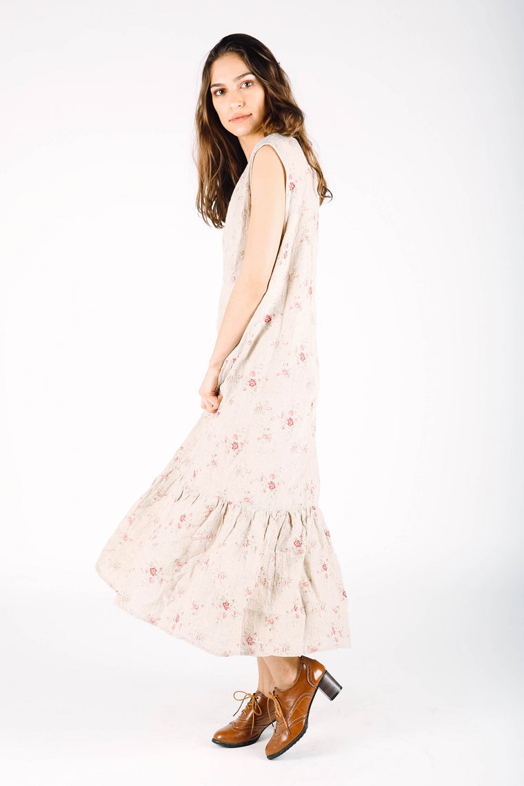 Simple Slip Dress in Floral Linen, HD-056