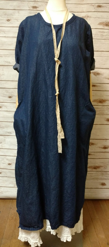 Simple Dress in Linen Cotton Denim, USA