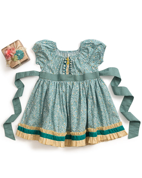 Glittering Pine Peasant Dress