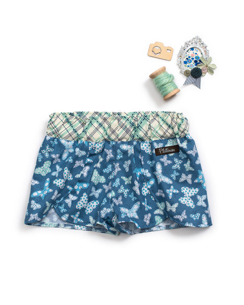 Blue Butterfly Woven Shorties