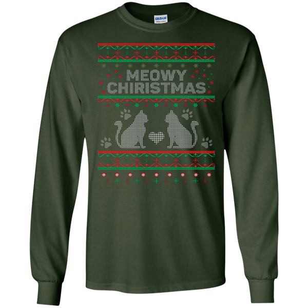Meowy Christmas Cat Ugly Christmas Sweater Design Long Sleeve - BinXzay