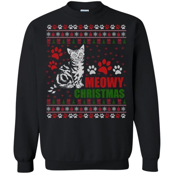 Meowy Christmas Unique Cat Ugly Christmas Sweatshirt