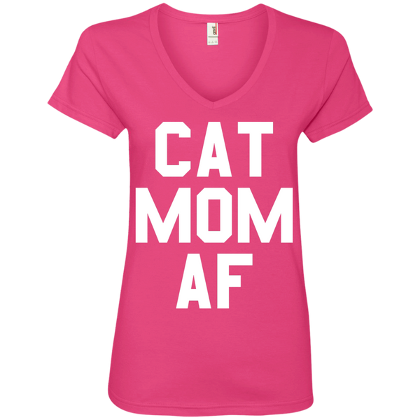 Cat Mom AF Ladies V-Neck Tee - BinXzay