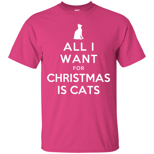 All I Want for Christmas is Cats Cotton T-Shirt - BinXzay